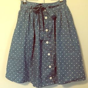ModCloth chambray polka dot skirt w/ bow belt